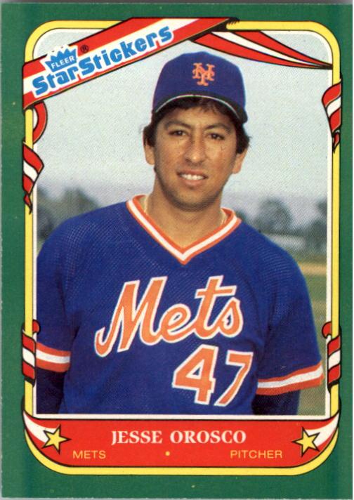 1987 Fleer Star Stickers #87 Jesse Orosco