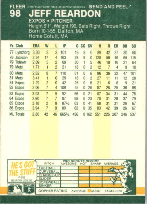 1987 Fleer Star Stickers #98 Jeff Reardon back image