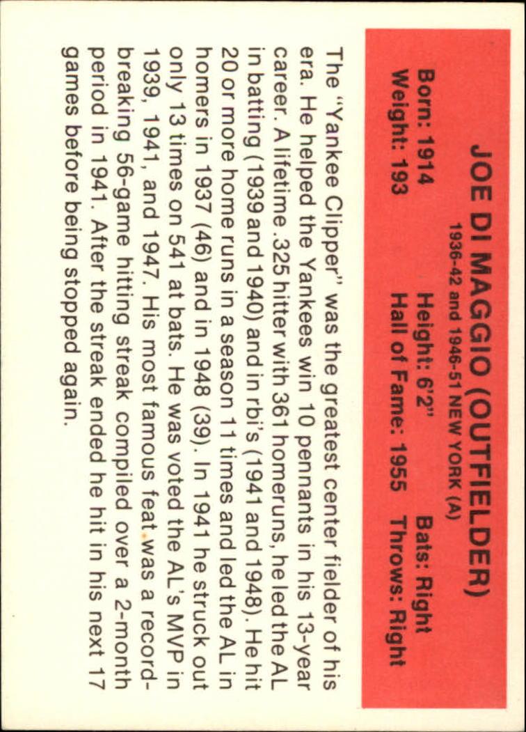 1987 Hygrade All-Time Greats #27 Joe DiMaggio back image