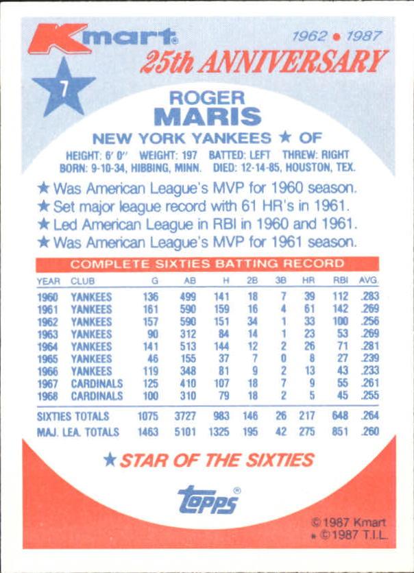 1987 K-Mart #7 Roger Maris back image