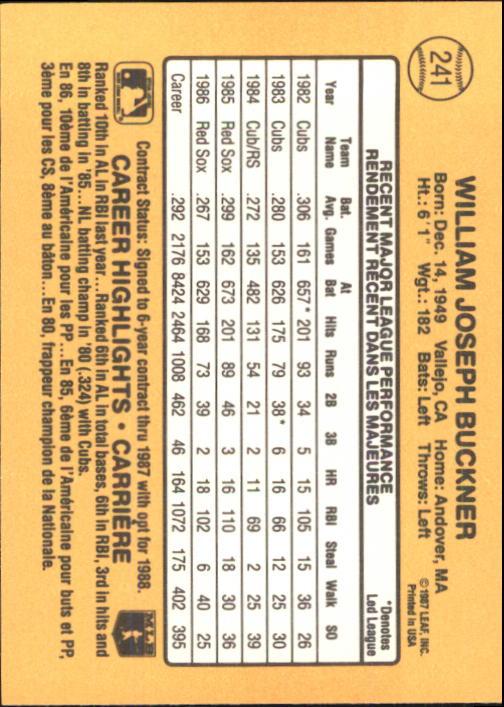 1987 Leaf/Donruss #241 Bill Buckner back image