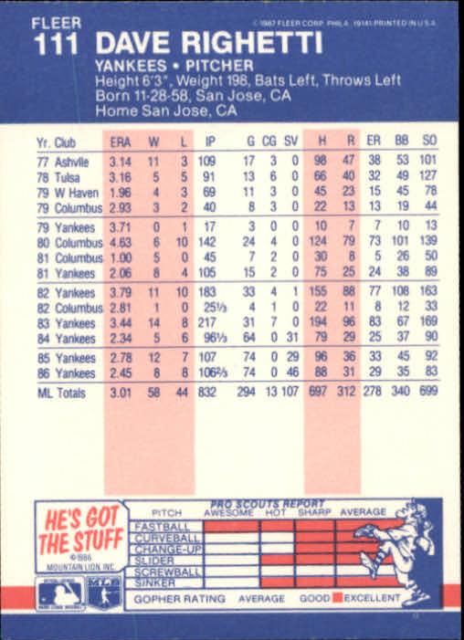 1987 Fleer #111 Dave Righetti back image