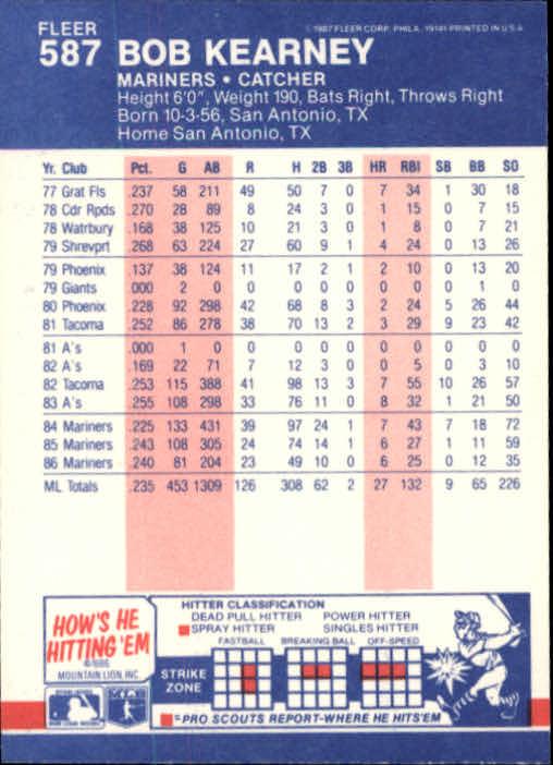 1987 Fleer #587 Bob Kearney back image