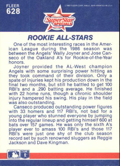 1987 Fleer #628 Wally Joyner/Jose Canseco back image
