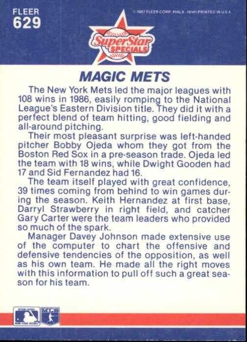 1987 Fleer #629 Gary Carter/Sid Fernandez/Dwight Gooden/Keith Hernandez/Darryl Strawberry back image