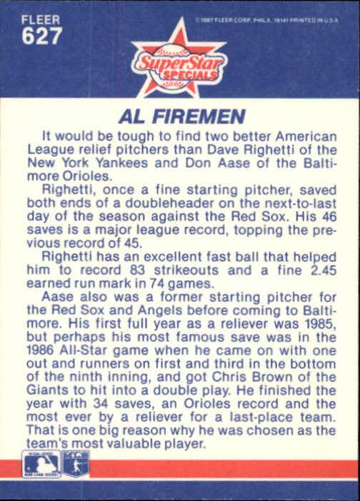 1987 Fleer Glossy #627 AL Firemen/Dave Righetti/Don Aase back image