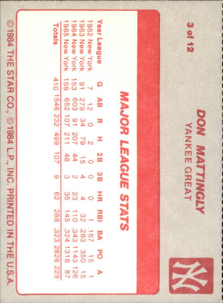 1987 Star Mattingly #3 Don Mattingly/Major League Stats back image