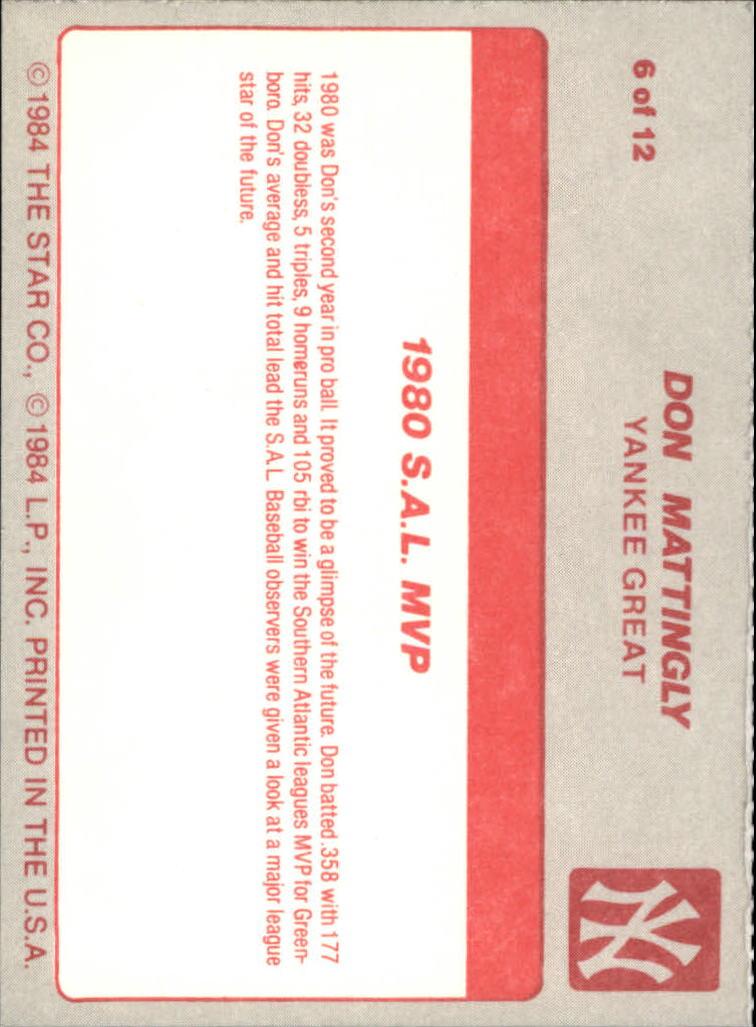1987 Star Mattingly #6 Don Mattingly/1980 S.A.L. MVP back image