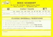 1987 Classic Update Yellow #101 Mike Schmidt back image