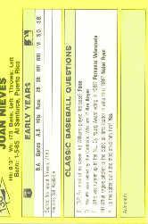 1987 Classic Update Yellow #136 Juan Nieves back image