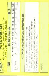 1987 Classic Update Yellow #138 Pete O'Brien back image
