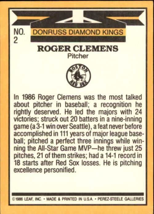 1987 Donruss #2 Roger Clemens DK back image