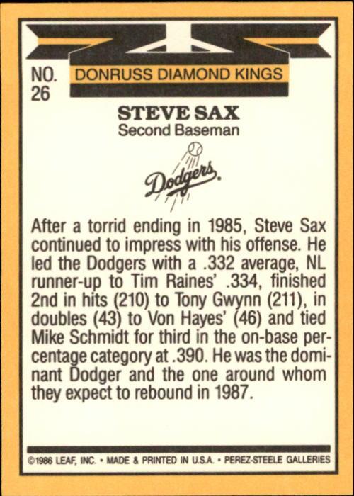 1987 Donruss #26 Steve Sax DK back image
