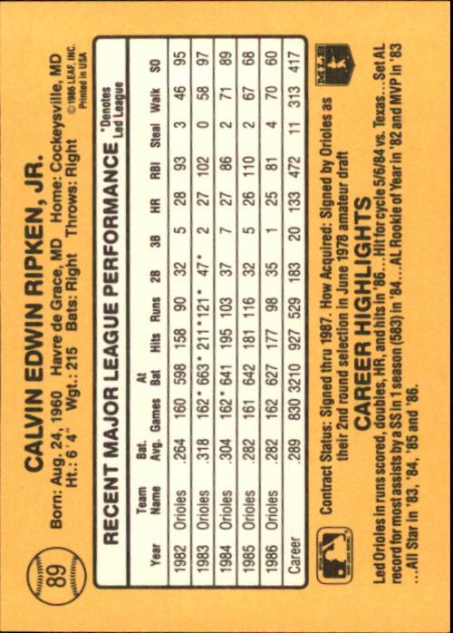 1987 Donruss #89 Cal Ripken back image