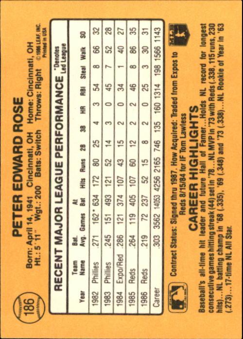 1987 Donruss #186 Pete Rose back image