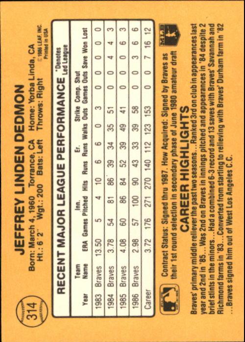1987 Donruss #314 Jeff Dedmon back image