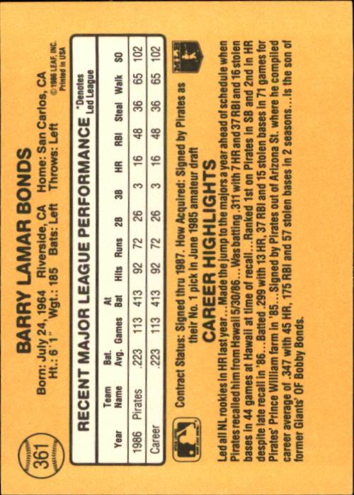 1987 Donruss #361 Barry Bonds RC back image