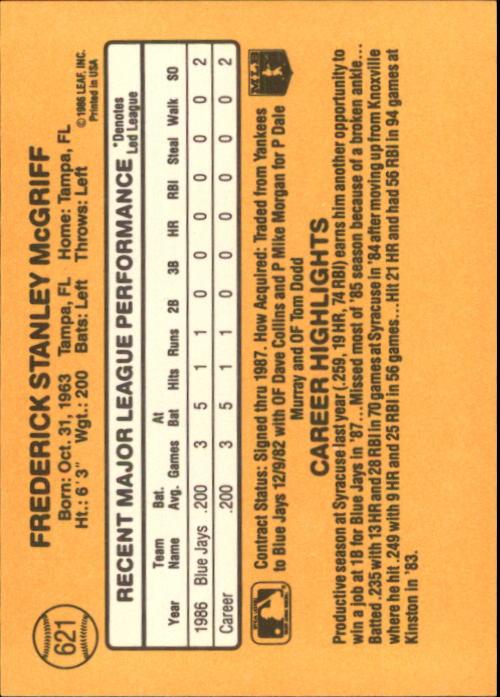 1987 Donruss #621 Fred McGriff back image
