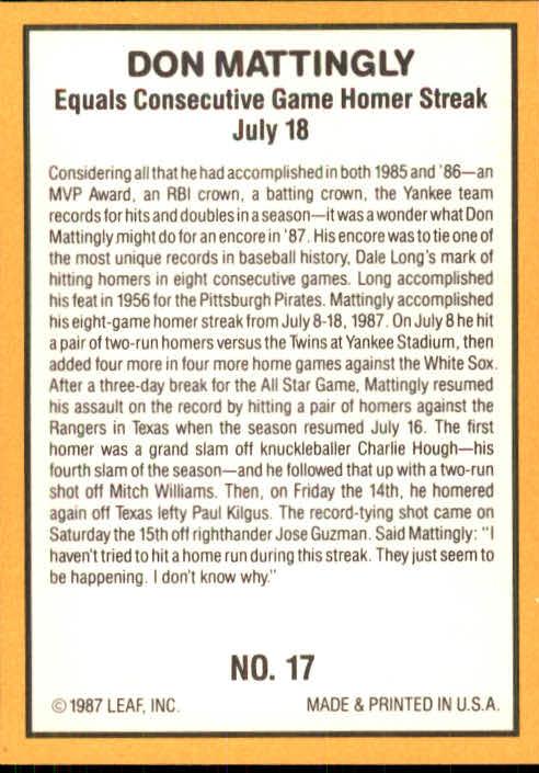 1987 Donruss Highlights #17 Don Mattingly back image