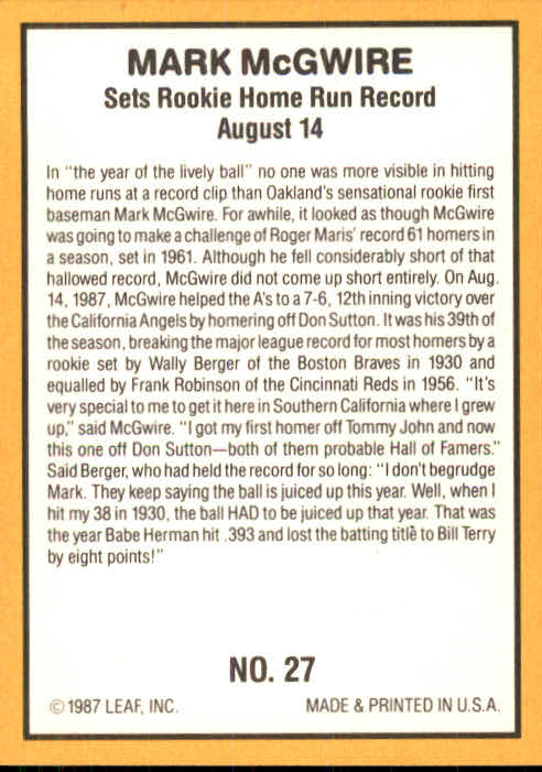 1987 Donruss Highlights #27 Mark McGwire back image