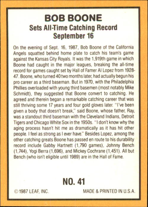 1987 Donruss Highlights #41 Bob Boone back image