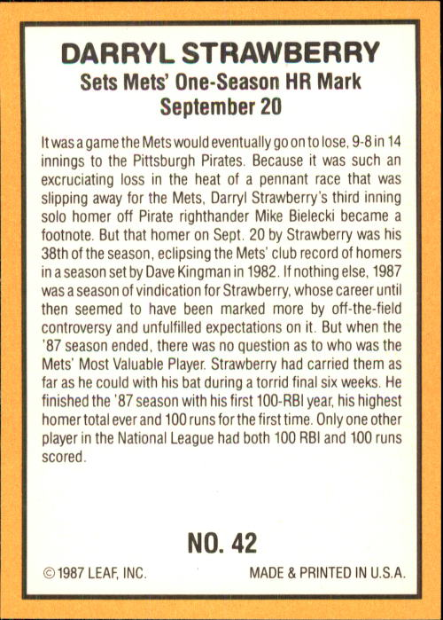 1987 Donruss Highlights #42 Darryl Strawberry back image