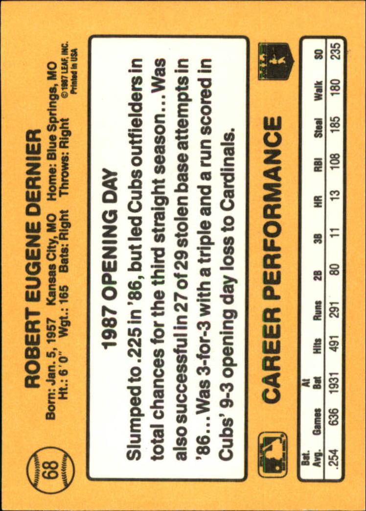 1987 Donruss Opening Day #68 Bob Dernier back image