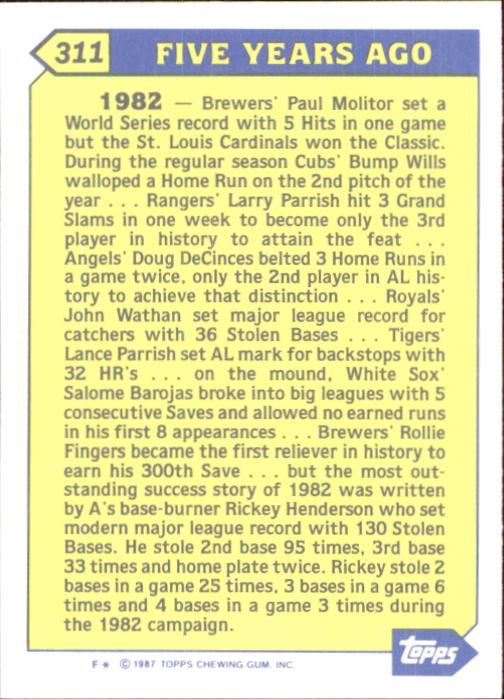 1987 Topps Tiffany #311 Rickey Henderson TBC back image