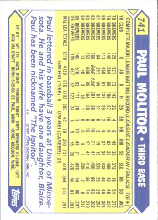 1987 Topps Tiffany #741 Paul Molitor back image