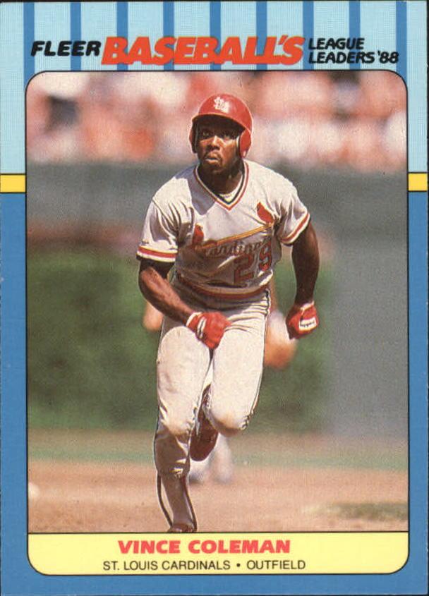 1988 Fleer League Leaders #7 Vince Coleman