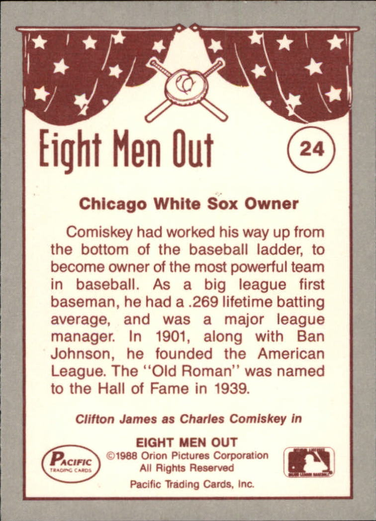 1988 Pacific Eight Men Out #24 Charles Comiskey OWN back image