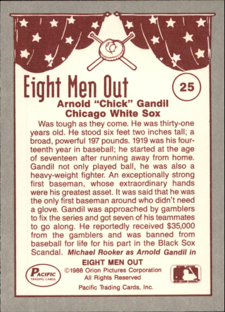 1988 Pacific Eight Men Out #25 Chick Gandil/1st Baseman back image