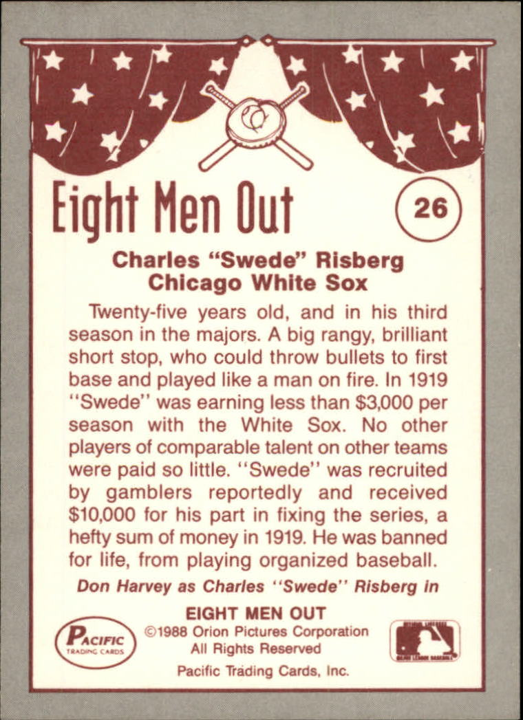 1988 Pacific Eight Men Out #26 Swede Risberg back image