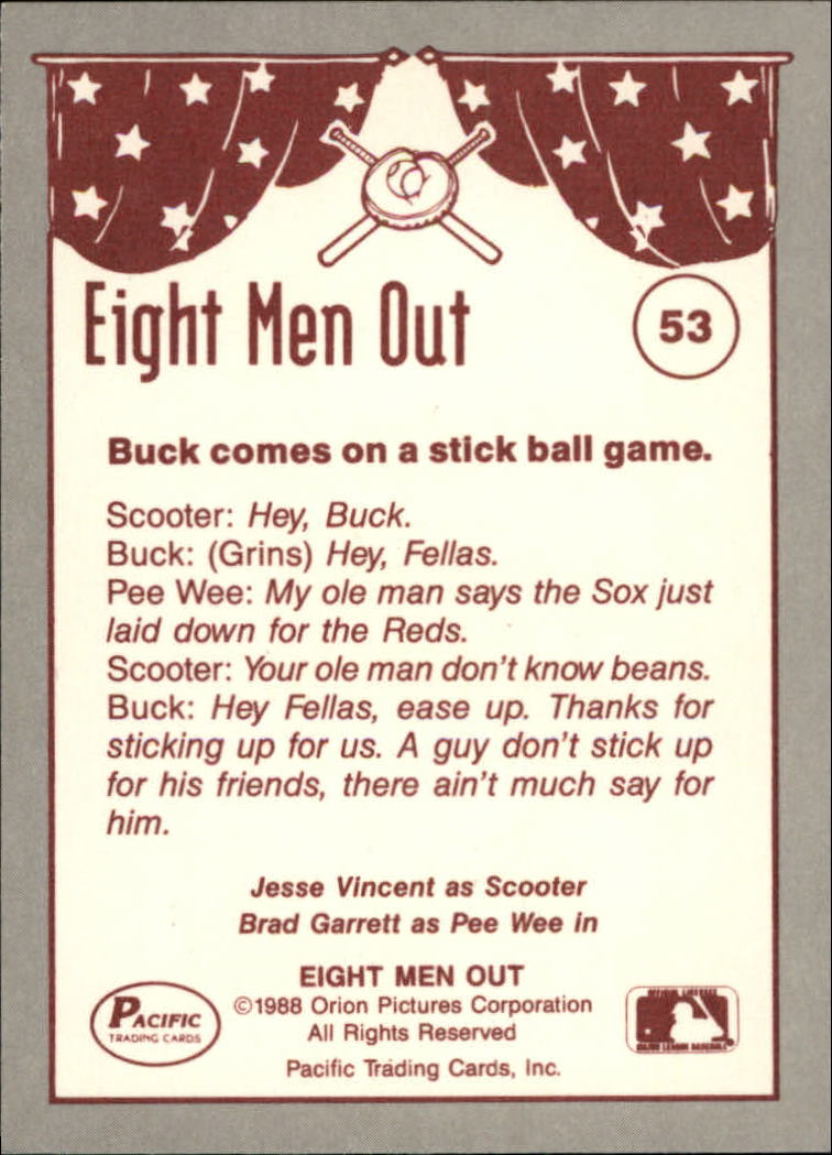 1988 Pacific Eight Men Out #53 Chicago Stickball/Game back image