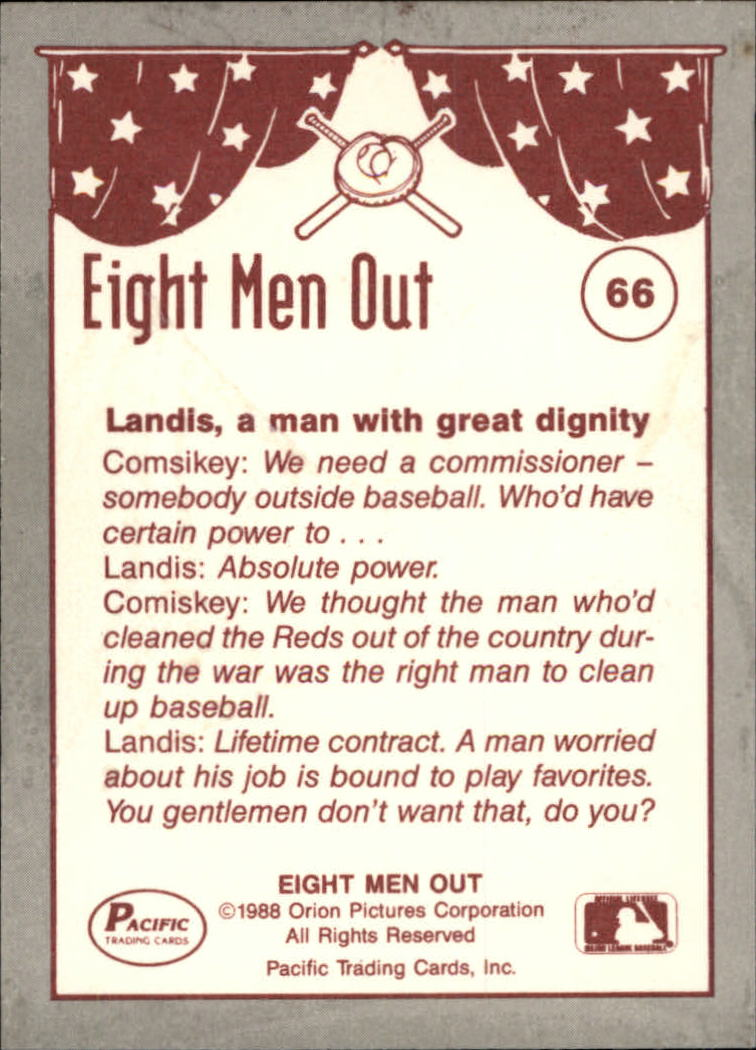 1988 Pacific Eight Men Out #66 Baseball Owners Hire/A Commissioner back image