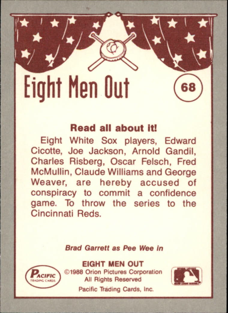 1988 Pacific Eight Men Out #68 Grand Jury Summoned back image