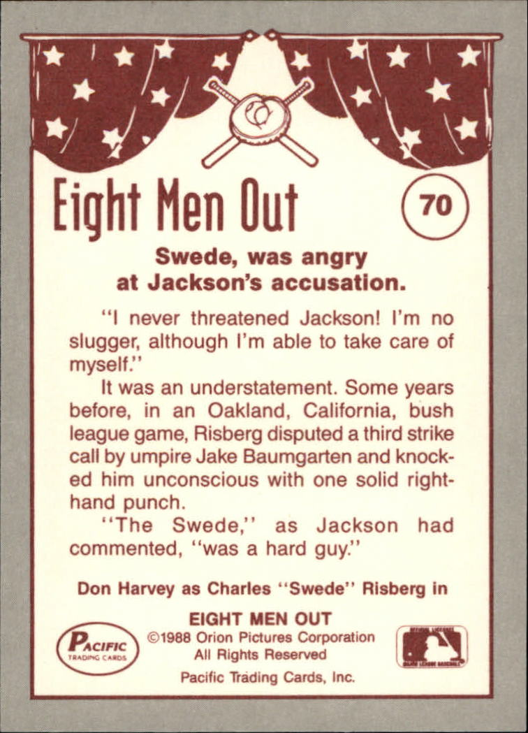 1988 Pacific Eight Men Out #70 The Swede's A Hard/Guy back image