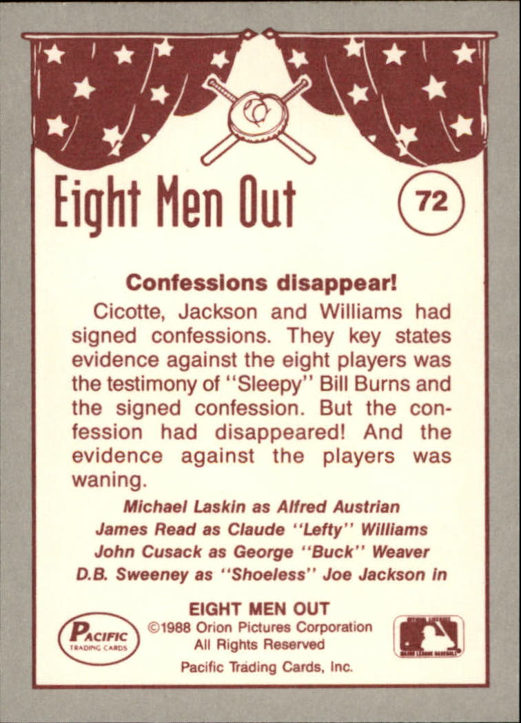 1988 Pacific Eight Men Out #72 The Trial back image