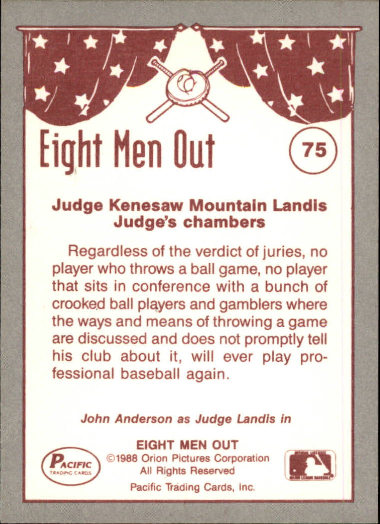 1988 Pacific Eight Men Out #75 Eight Men Out back image