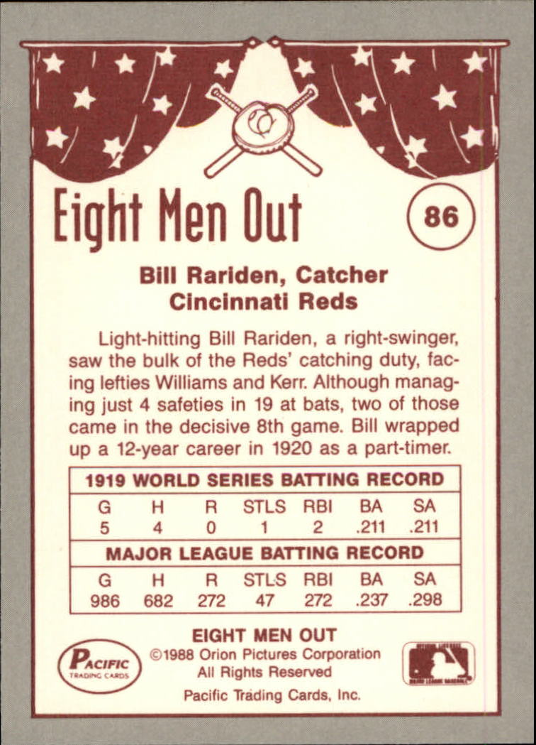 1988 Pacific Eight Men Out #86 Bill Rariden back image