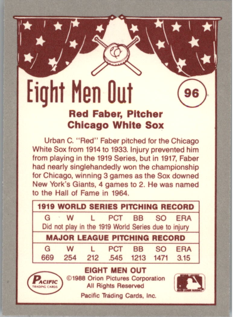 1988 Pacific Eight Men Out #96 Red Faber back image