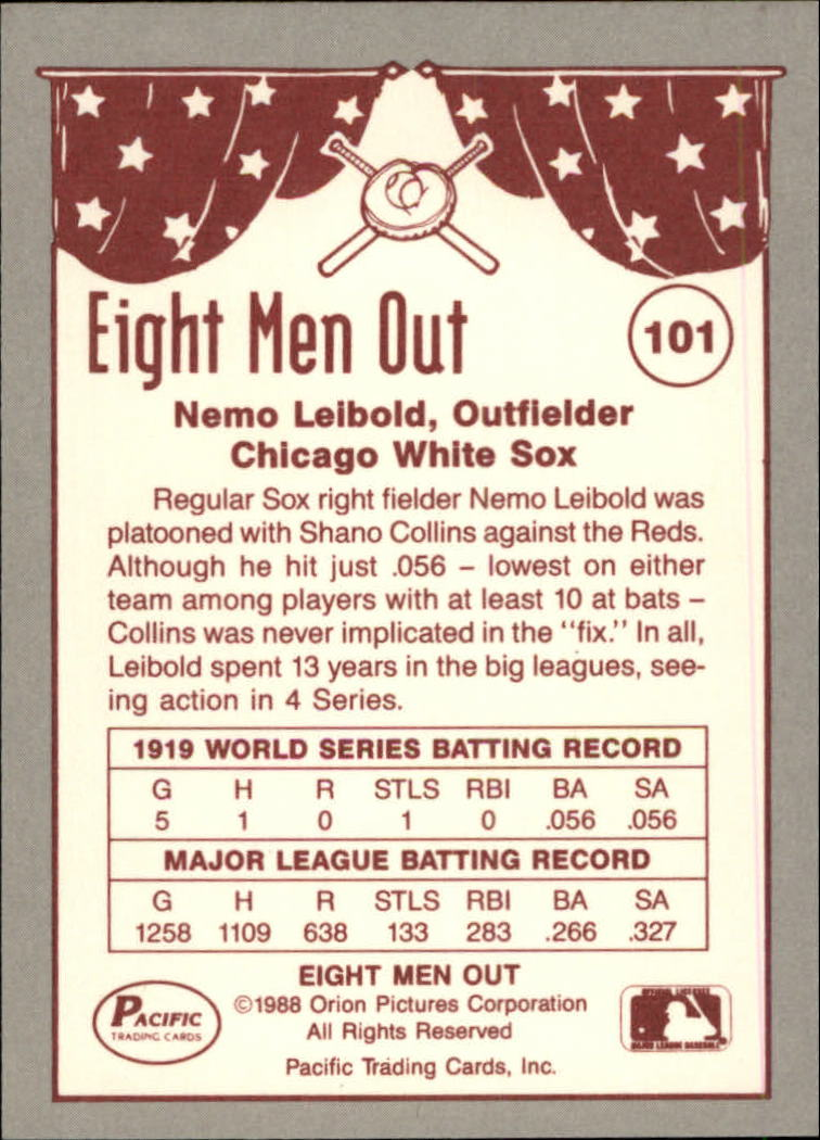 1988 Pacific Eight Men Out #101 Nemo Leibold back image