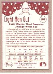 1988 Pacific Eight Men Out #107 Buck Weaver back image