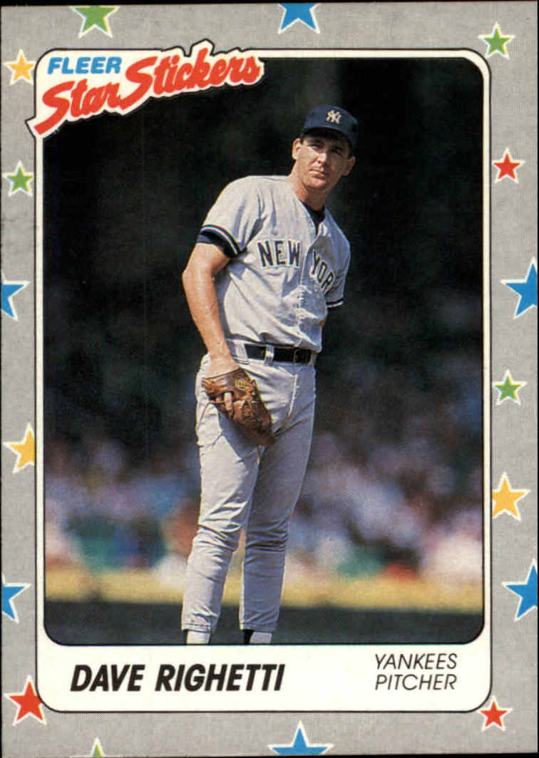 1988 Fleer Star Stickers #52 Dave Righetti