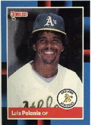 1988 A's Donruss Team Book #425 Luis Polonia