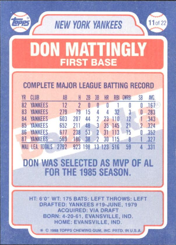 1988 Bazooka #11 Don Mattingly back image
