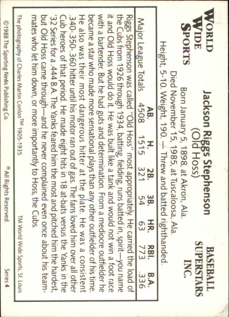 1988 Conlon Series 4 #27 Riggs Stephenson back image