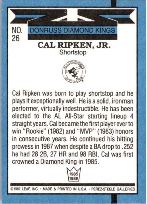 1988 Donruss #26 Cal Ripken DK back image