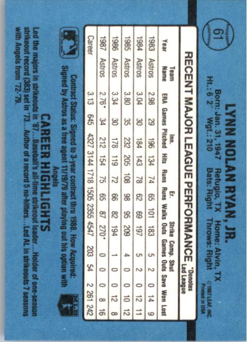 1988 Donruss #61 Nolan Ryan back image