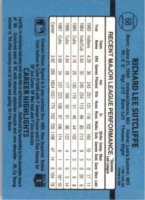 1988 Donruss #68 Rick Sutcliffe back image